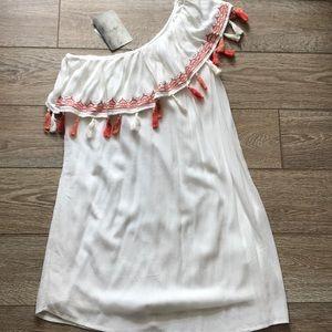 Fringed off the shoulder dress